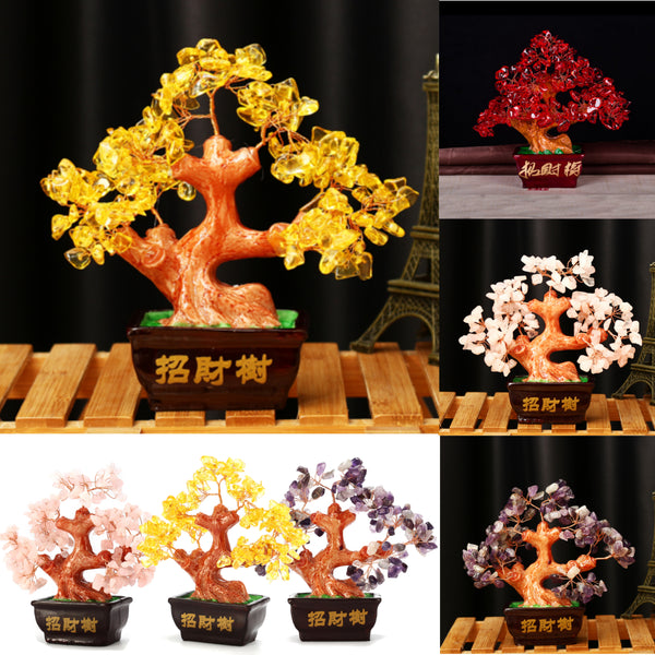 Money Wealth Tree Feng Shui Lucky Rich Tree Natural Pretty Crystal Gem Tree Room Decorations Purple