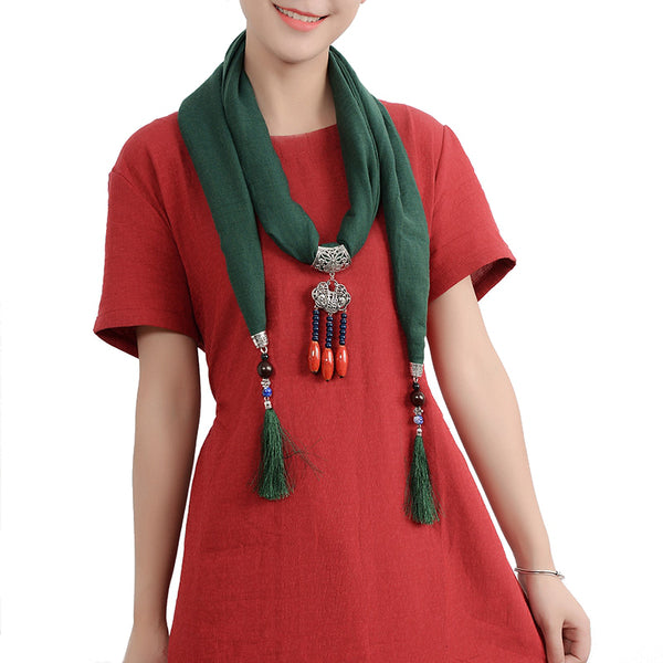 Ethnic Women Necklace Lucky Lock Beads Tassel Pendant Multicolor Cotton Scarf Clothing Accessories Black