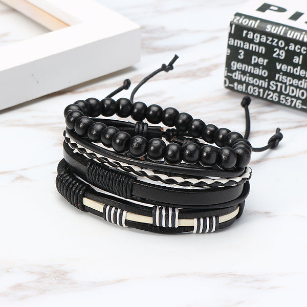 Vintage Multilayer Bracelet Bead Woven Leather Chain Wristband Jewelry Gift for Men Black