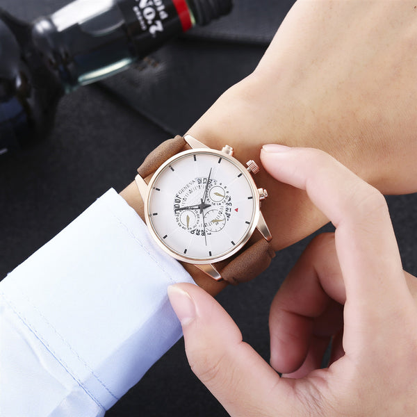 GENEVA Men Decorative Small Dial Fashion Leather Strap Casual Dial Men Quartz Watch NO.1