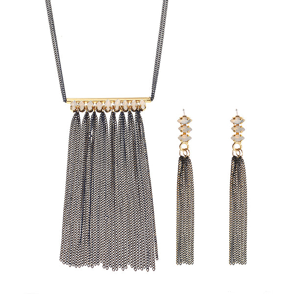 JASSY® 18K Gold Plated Crystal Jewelry Set Punk Tassel Pendant Necklace Earrings for Women Gift