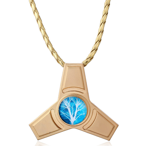 Unisex Fidget Spinner Pendant Chain Life of Tree Alloy Trinity Necklace for Women Men  Gold