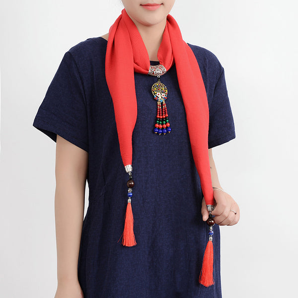 Ethnic Multifunction Women Necklace Retro Shell Flower Colorful Bead Tassel Cotton Scarf Gift  Pink