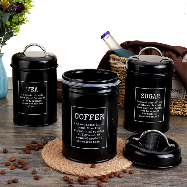 3Pcs Storage Tanks Canister Tea Coffee Sugar Tin Jar Stainless Steel Container Can Kitchen