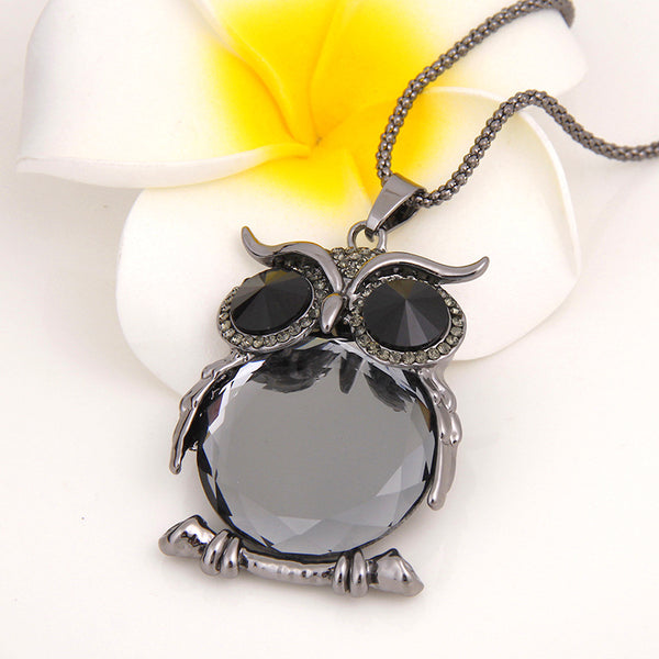 Cute Pendant Necklace Rhinestone Colorful Animals Night 02