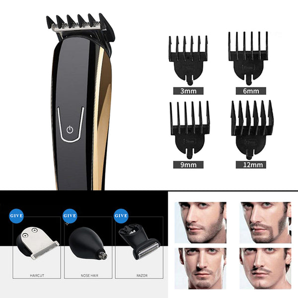 EU Plug 5IN1 220V Waterproof Trimmer Barber Salon Hair Cut T