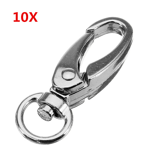 10Pcs 37.5mm Silver Zinc Alloy Oval Swivel Spring Snap Hook Trigger Clip with 8.5mm Round Ring
