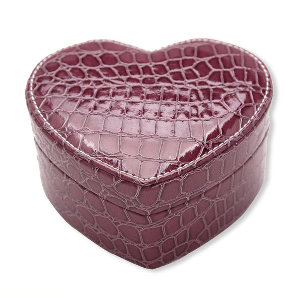 PU Heart Shaped Jewelry Box Double Layers With Mirror Pink