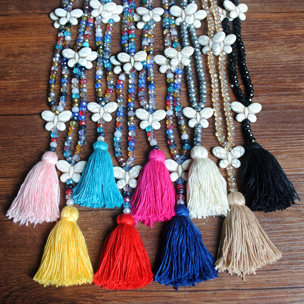 Bohemian Butterfly Tassel Pendant Necklace Ethnic Handmade Transparent Bead Long Necklace #04
