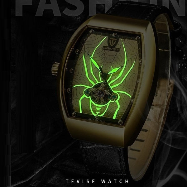 TEVISE T813 Spider Fashion Style Men Wrist Watch Luminous Display Automatic Mechanical Watch Silver+White