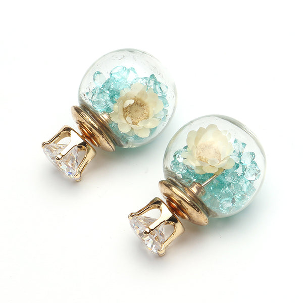 Trendy Colorful Crystal Glass Ball Flower Round Earrings Light Blue/925 Sterling Silver