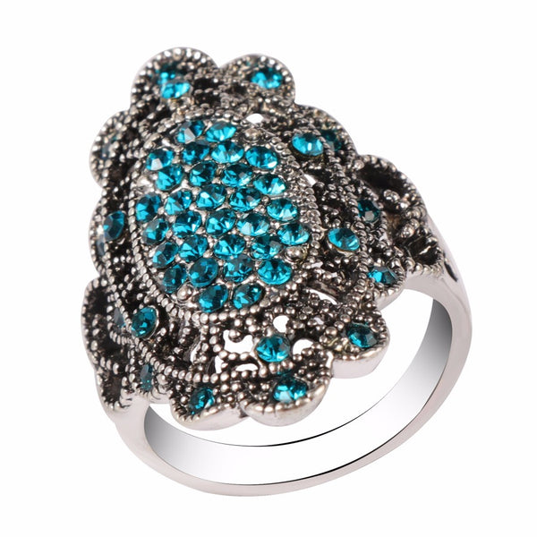 Vintage Colorful Crystal Hollow Alloy Oval Geometric Rings Blue/8