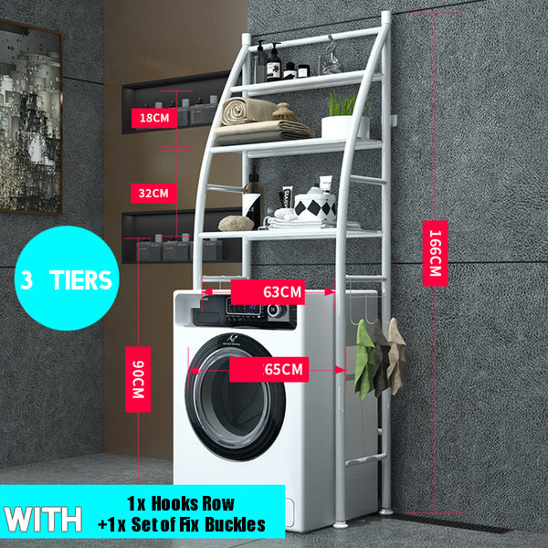 Over Toilet Rack Over Washing Machine Rack Metal Toilet Cabinet Shelving Bathroom Kitchen Storage Shelf Space Saver Shelf Organizer Holder Black/#1