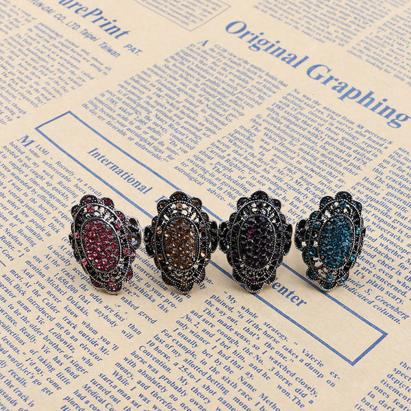Vintage Colorful Crystal Hollow Alloy Oval Geometric Rings Champaign Gold/10