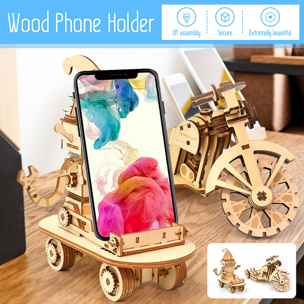 Newest DIY 3D Wooden Puzzle Assembly Toy Gift for Children Adult Phone Holder Phone Stand