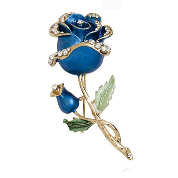 Brooch Rhinestone Crystal Rose Flower Wedding Bridal Pin Brooch Blue