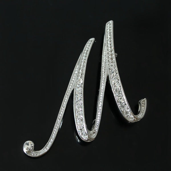 Silver Plated Rhinestone English Letters Brooch For Women Q