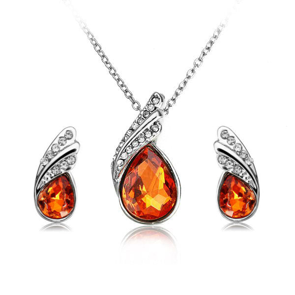 Crystal Water Drop Necklace Earrings Jewelry Set Silver Plated Jewelry Gift for Women Orange Red