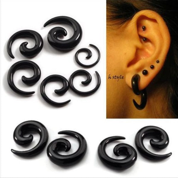 Black White Acrylic Carved Spiral Snail Tapered Ear Plug Ear Expander Black/10mm