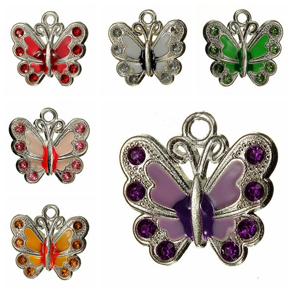 Silver Plated Crystal Rhinestone Butterfly Charm Necklace Pendant DIY Green
