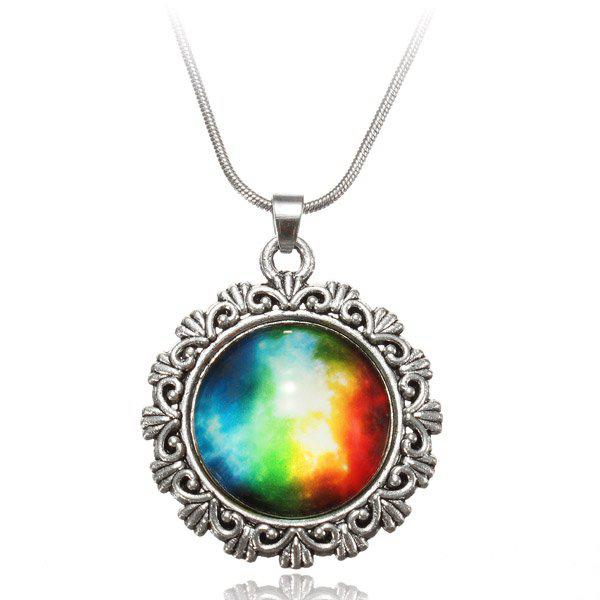 Galaxy Sky Nebula Space Glass Cabochon Silver Alloy Pendant Necklace #1