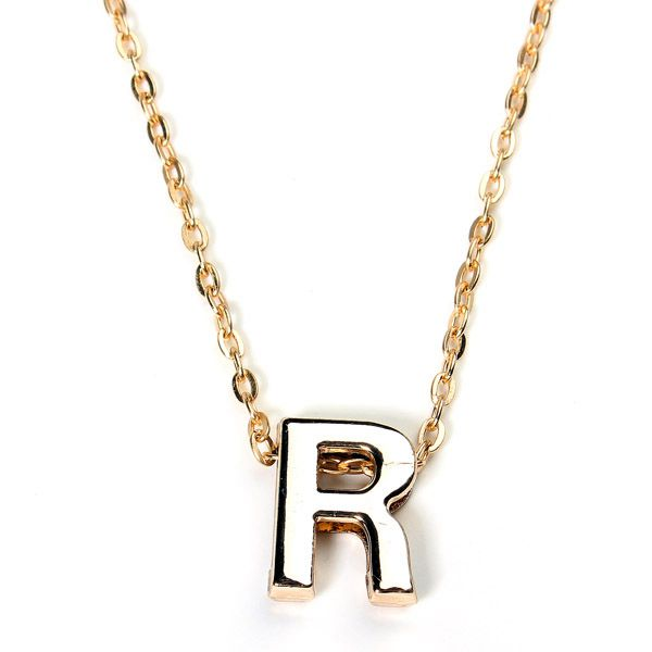 Gold Plated Letter Alphabet Name Pendant Chain Necklace Unisex Jewelry Y