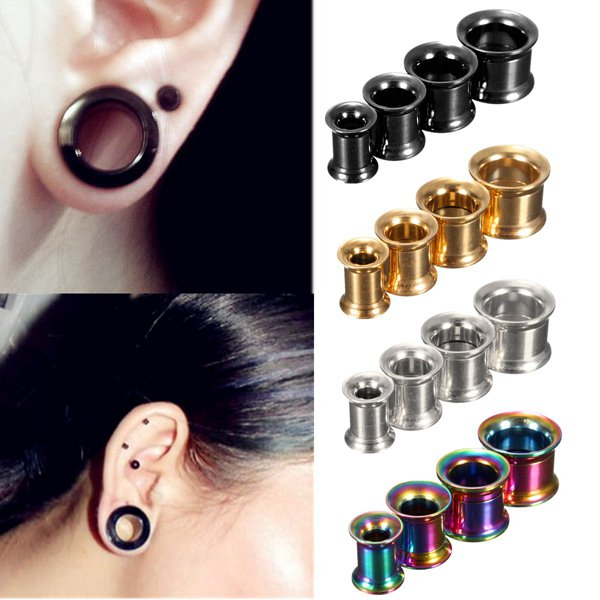 1pc Stainless Steel Flared Ear Plug Hollow Expander Tunnel Piercing Black/10mm