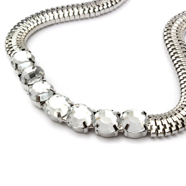 Bib Silver Gold Metal Crystal Snake Chain Choker Necklace For Women Gold