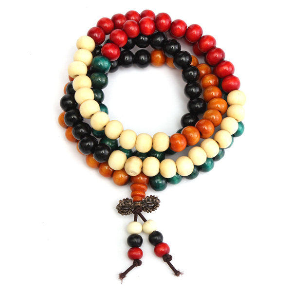 108Pcs 8mm Multilayer Sandalwood Buddha Prayer Beads Bracelet Necklace 11