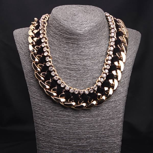 Rhinestone Woven Rope Thick Chain Collar Choker Statement Necklace Gold+Black