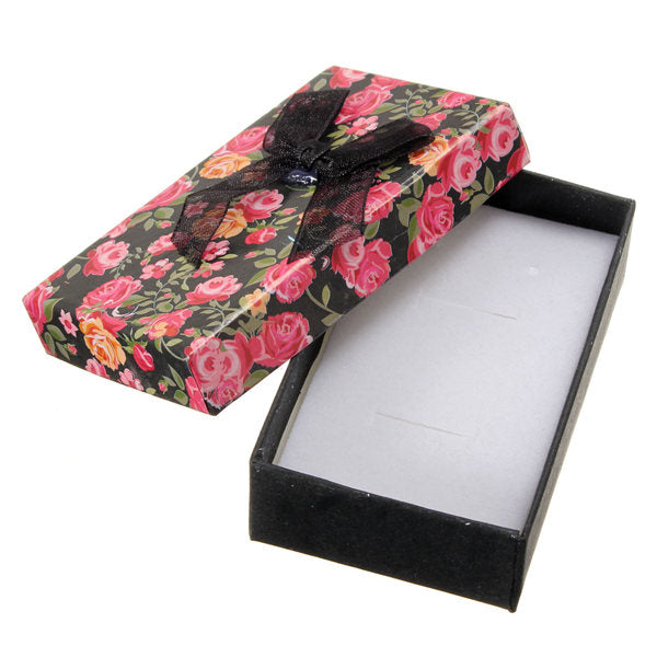 Flower Bowknot Necklace Earrings Ring Jewelry Gift Paper Box Case Pink