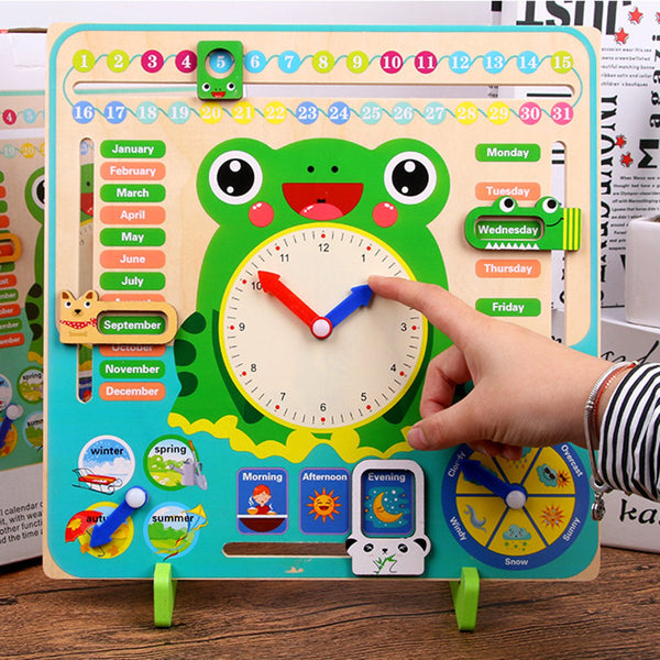 Educational Wooden Toys Children School Calendar Clock Weather Learning Board