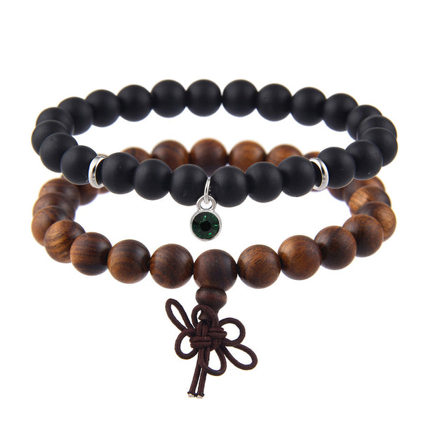 Sandalwood Handmade Chain Stainless Steel Colorful Agate Bead Bracelet Set Unisex 9