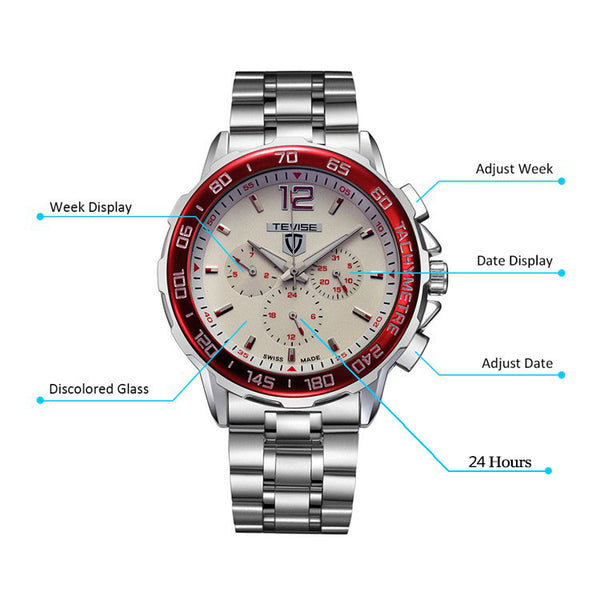 TEVISE 356 Military Style Full Steel Male Wristwatch Semi-Automatic Mechanical Watch NO.2