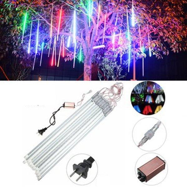 10Tubes 50cm 540LED Meteor Shower Rain Light Christmas Xmas Tree Decor with Driver US Plug Warm White
