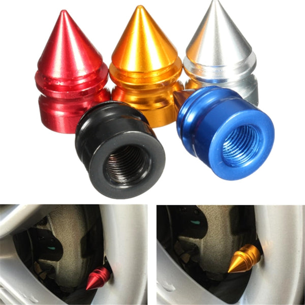 4PCS Aluminum Tire Rim Wheel Valve Cap Airtight Dust Cover Universal For Car Van Bike Motor Bike  Black