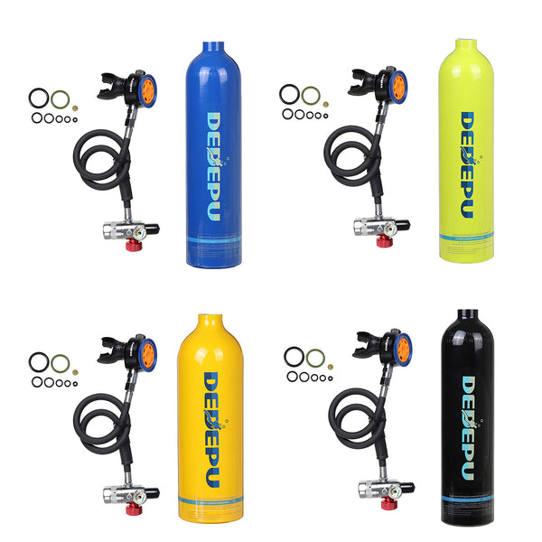1L Scuba Oxygen Cylinder Air Tank Underwater Breathing Equipment Tool Pump Set Green
