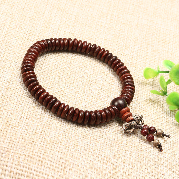 Natural Siam Rosewood Beads Buddha Bead Elastic Bracelet for Women Men 14mm