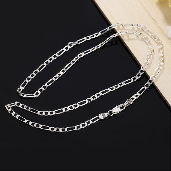 925 Sterling Silver Stamp Figaro Chain Necklace 16 18 20 22 22in