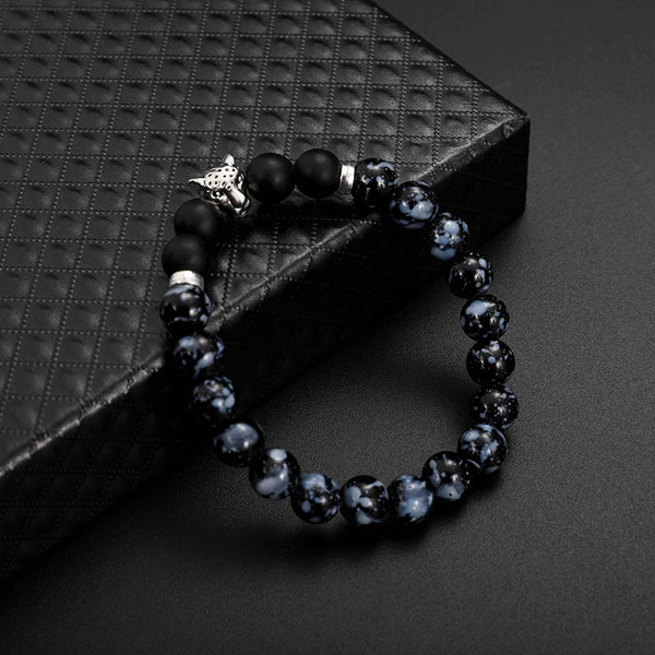 Fashion Men's Beads Bracelet Leopard Natural Stone As Picture