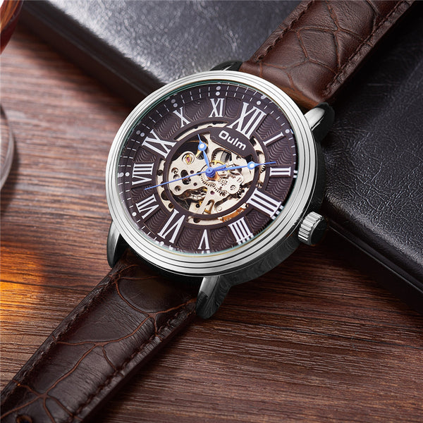 OULM 3688 Genuine Leather Automatic Mechanical Watch NO.4