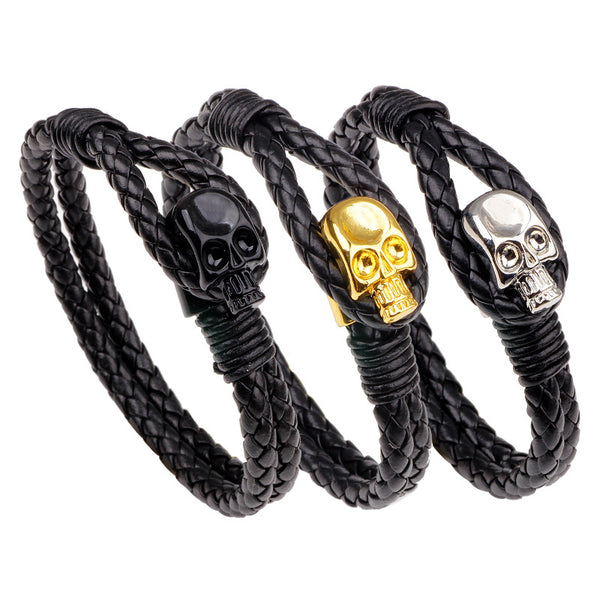 Punk Gold Skull Leather Wrap Chain Fashion Bangle Bracelets Silver