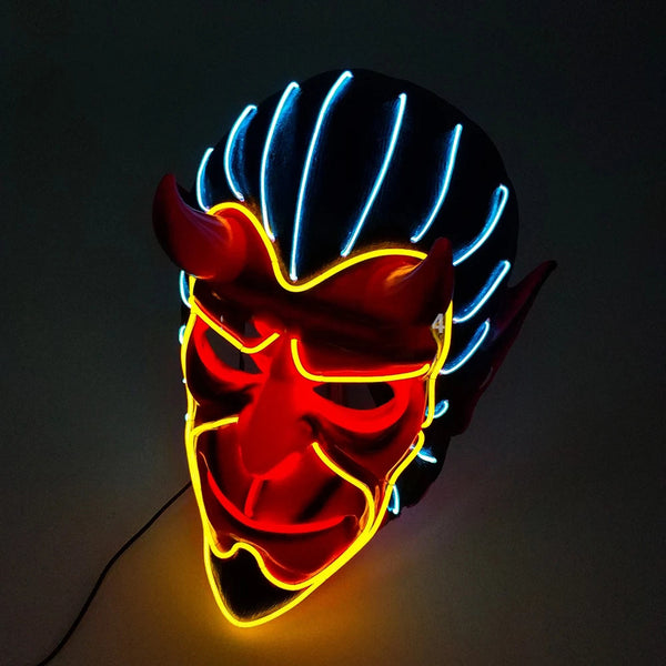 Halloween Haunted House Decor EL Wire Devil Mask Monster LED Luminous Mask Cosplay Flashing Mask Red