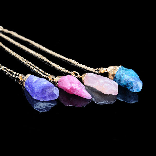 Trendy Natural Stone Multicolor Sweater Chain Pendant Necklace for Women  Lake Blue