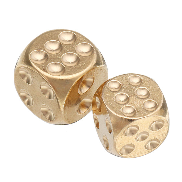 Brass Solid Copper Dice Gold Color Mahjong Dice for Game Gife Party 13mm