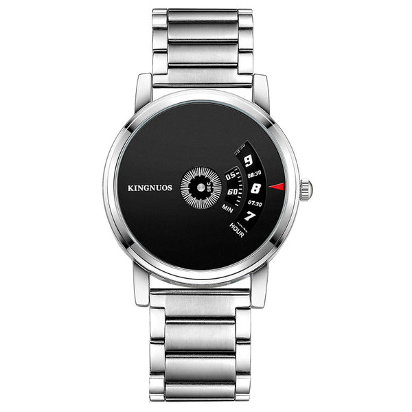 KINGNUOS 260 Fashion Men Watch Creative Dial Stainless Steel Strap Business Quartz Watch NO.1
