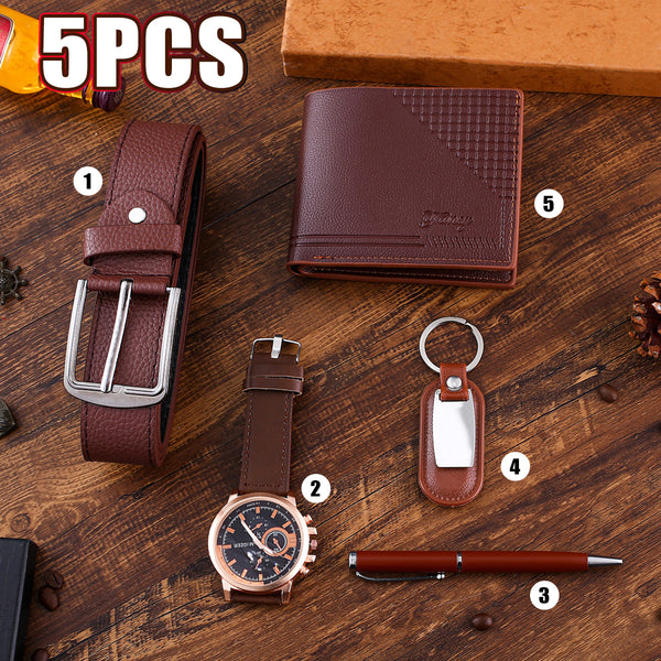 5PCS Fashion Gift Set Business Large Dial Quartz Watch+Pen+Belt+Key Chain+Wallet