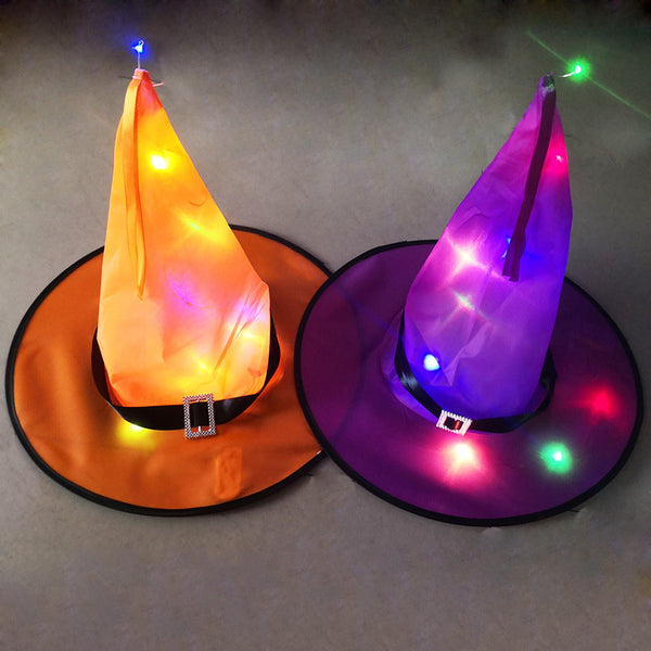 Halloween Glowing Hat Party Decorations LED Glowing Witch Hat Wizard Hat Black