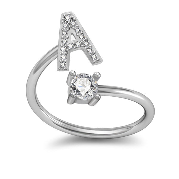26 Letter White Gold White Rhinestone Adjustable Ring #01