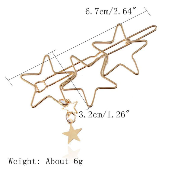Trendy Hair Accessories Hollow Five Point Stars Hairpin Rose Gold+Black